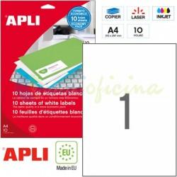 Etiquetas Adhesivas Apli 210x297 mm. 10h. Ref.12917