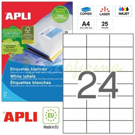 Etiquetas Adhesivas Apli 70,0X 37,0mm 25h Ref.01212