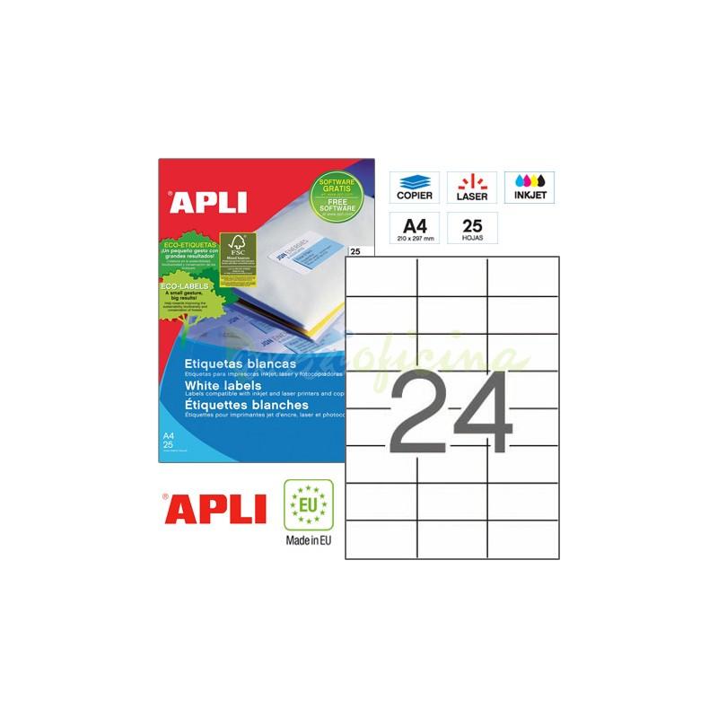 Etiquetas Adhesivas marca Apli 70X37mm 25h Ref 01212