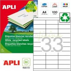 Etiquetas Adhesivas Recicladas Apli 70x25,4mm 100h