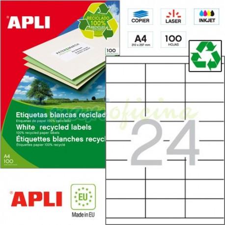 Etiquetas Adhesivas Recicladas Apli 70x35mm 100h