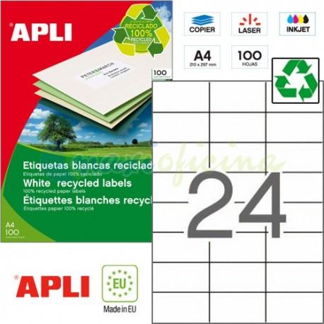 Etiquetas Adhesivas Recicladas Apli 70x37mm 100h