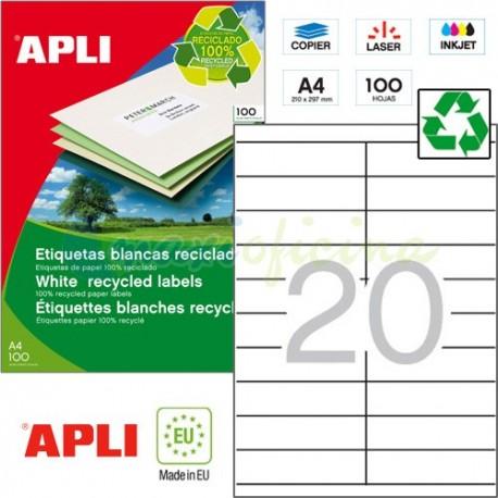 Etiquetas Adhesivas Recicladas Apli 105x29mm 100h