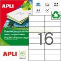 Etiquetas Adhesivas Recicladas Apli 105x37mm 100h