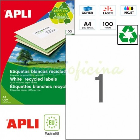 Etiquetas Adhesivas Recicladas Apli 210x297mm 100h