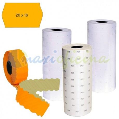 6 rollos Etiquetas removibles 26x16 mm naranja Etiquetadora 2 líneas