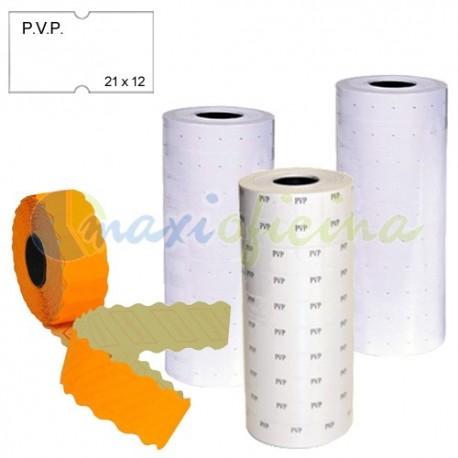 6 rollos Etiquetas pvp removibles 21x12 mm blancas Etiquetadora 1 línea