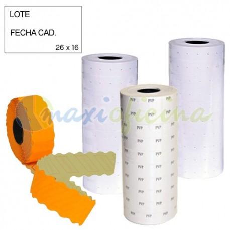 6 rollos Etiquetas Lote-fecha removibles 26x16 blancas 2 líneas