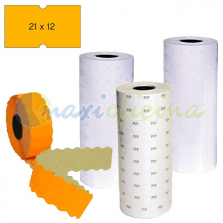 6 rollos Etiquetas permanentes 21x12 mm naranja Etiquetadora 1 línea