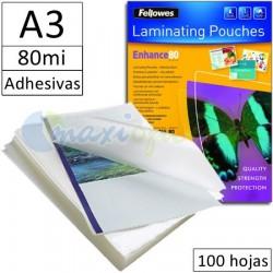 Fundas para Plastificar A3 80 Micras Auto-Adhesivas