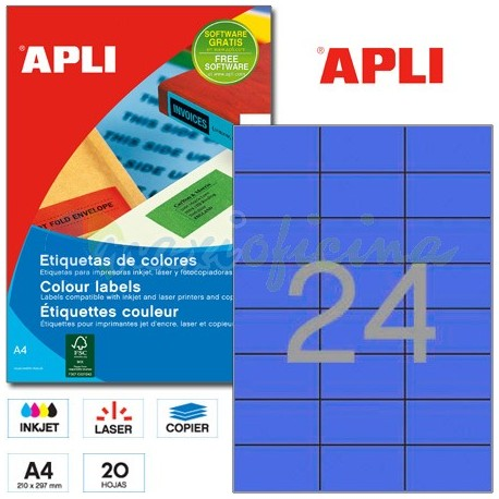 Etiquetas Adhesivas Apli Azul 70x37mm 20h