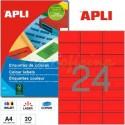 Etiquetas Adhesivas Apli Rojo 70x37mm 20h