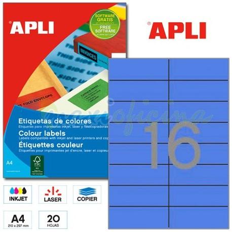 Etiquetas Adhesivas Apli Azul 105x37mm 20h