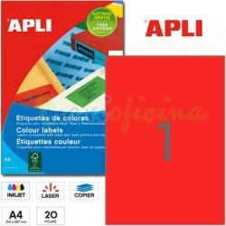 Etiquetas Adhesivas Apli Rojo 210x297mm 20h