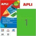 Etiquetas Adhesivas Apli Verde 210x297mm 20h