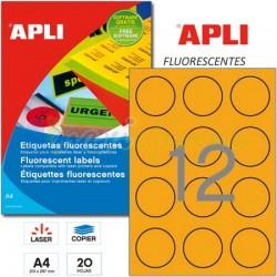 Etiquetas Adhesivas Apli Naranja Fluorescente 60mm 20h