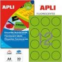 Etiquetas Adhesivas Apli Verde Fluorescente 60mm 20h