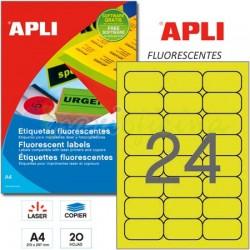 Etiquetas Adhesivas Apli Amarillo Fluorescente 64x33,9mm 20h