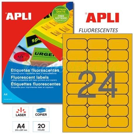 Etiquetas Adhesivas Apli Naranja Fluorescente 64x33,9mm 20h