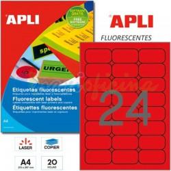 Etiquetas Adhesivas Apli Rojo Fluorescente 64x33,9mm 20h