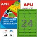 Etiquetas Adhesivas Apli Verde Fluorescente 64x33,9mm 20h