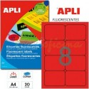 Etiquetas Adhesivas Apli Rojo Fluorescente 99,1x67,7mm 20h
