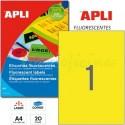 Etiquetas Adhesivas Apli Amarillo Fluorescente 210x297mm 20h