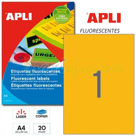 Etiquetas Adhesivas Apli Naranja Fluorescente 210x297mm 20h