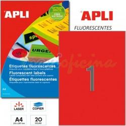 Etiquetas Adhesivas Apli Rojo Fluorescente 210x297mm 20h