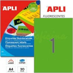 Etiquetas Adhesivas Apli Verde Fluorescente 210x297mm 20h