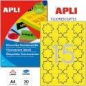 Etiquetas Adhesivas Apli Amarillo Fluorescente ESTRELLA 20h