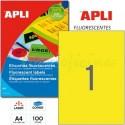 Etiquetas Adhesivas Apli Amarillo Fluorescente 210x297mm 100h