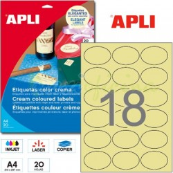 Etiquetas Adhesivas Apli Crema 63,5x42,3mm 20h