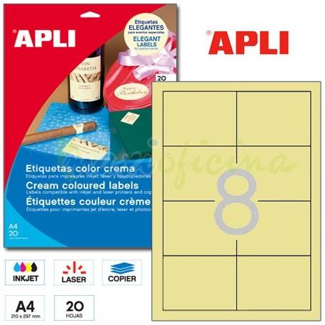 Etiquetas Adhesivas Apli Crema 97x67,7mm 20h