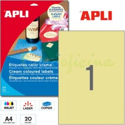 Etiquetas Adhesivas Apli Crema 210x297mm 20h