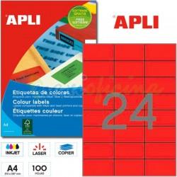 Etiquetas Adhesivas Apli Rojo 70x 37mm 100h