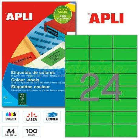 Etiquetas Adhesivas Apli Verde 70x 37mm 100h