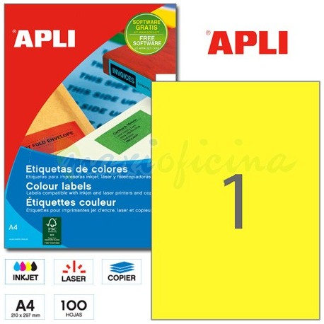 Etiquetas Adhesivas Apli Amarillo 210x297mm 100h