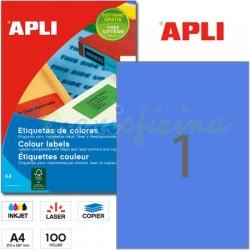 Etiquetas Adhesivas Apli Azul 210x297mm 100h