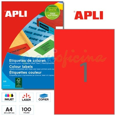 Etiquetas Adhesivas Apli Rojo 210x297mm 100h
