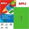 Etiquetas Adhesivas Apli Verde 210x297mm 100h