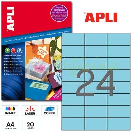 Etiquetas Adhesivas Apli Azul Pastel 70x37 mm. 20h