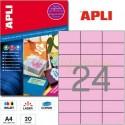 Etiquetas Adhesivas Apli Rosa Pastel 70x37mm. 20h