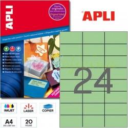 Etiquetas Adhesivas Apli Verde Pastel 70x37mm. 20h