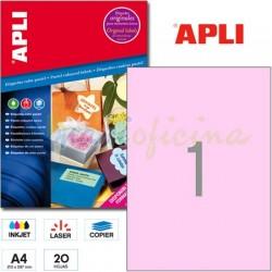 Etiquetas Adhesivas Apli Rosa Pastel 210x297 20h