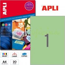 Etiquetas Adhesivas Apli Verde Pastel 210x297 20h