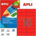 Etiquetas Adhesivas Apli Rojo 105x37 mm. 100h