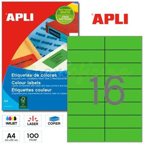 Etiquetas Adhesivas Apli Verde 105x37 mm. 100h