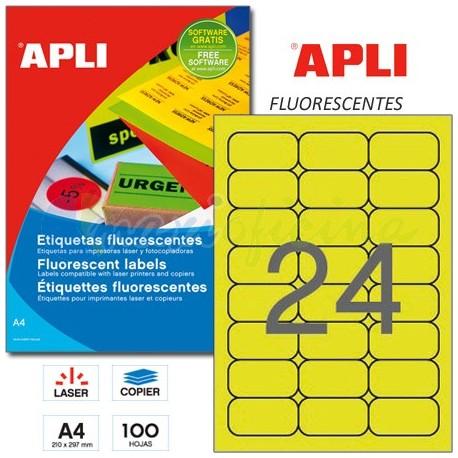 Etiquetas Adhesivas Apli Amarillo Fluorescente 64x33,9 mm. 100h