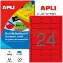 Etiquetas Adhesivas Apli Rojo Fluorescente 64x33,9 mm. 100h